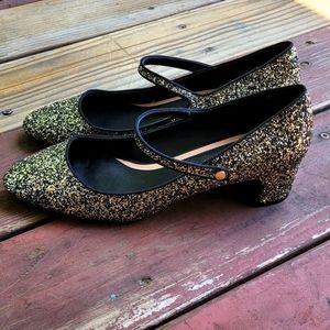 Zara gold glitter Mary Jane pumps